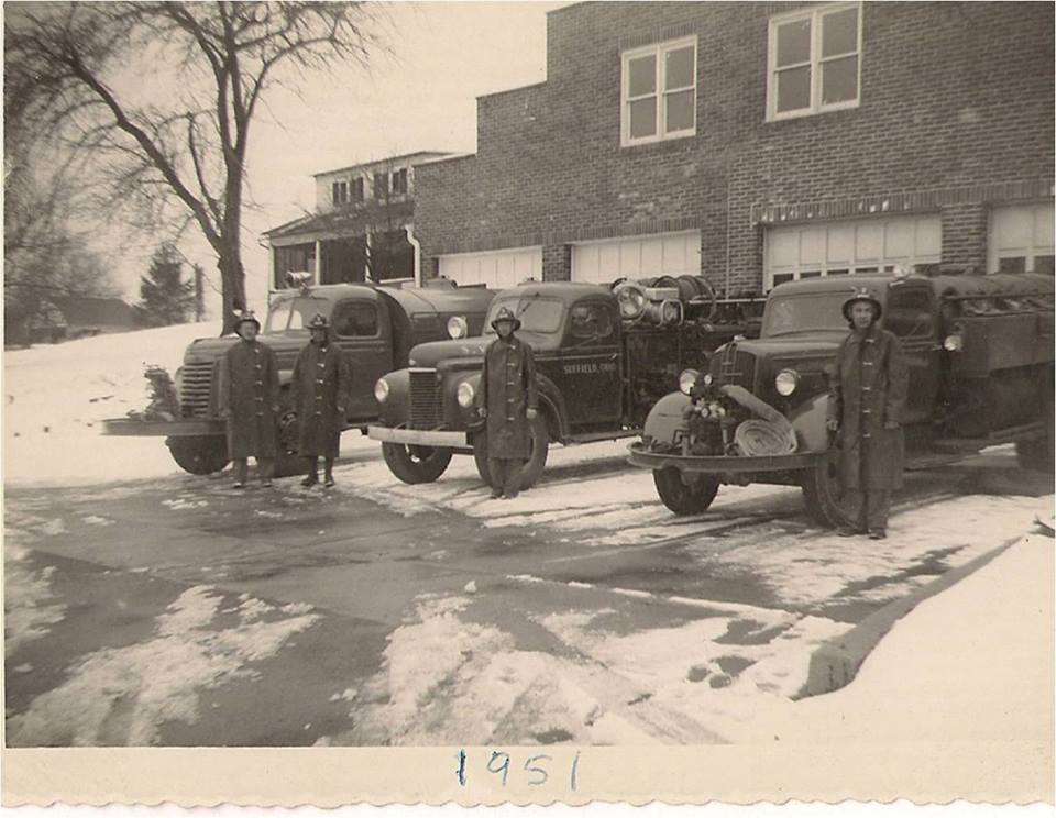 Suffield Fire Department vehicles in front of first Fire Station, circa 1951